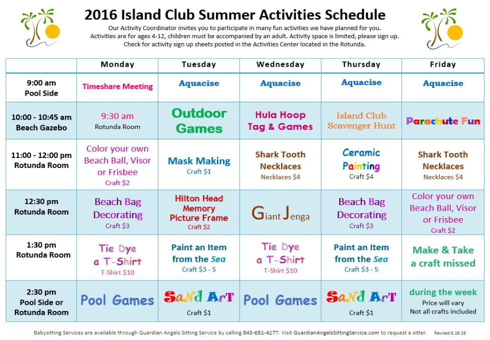 Island Club Summer Activities Schedule 2016